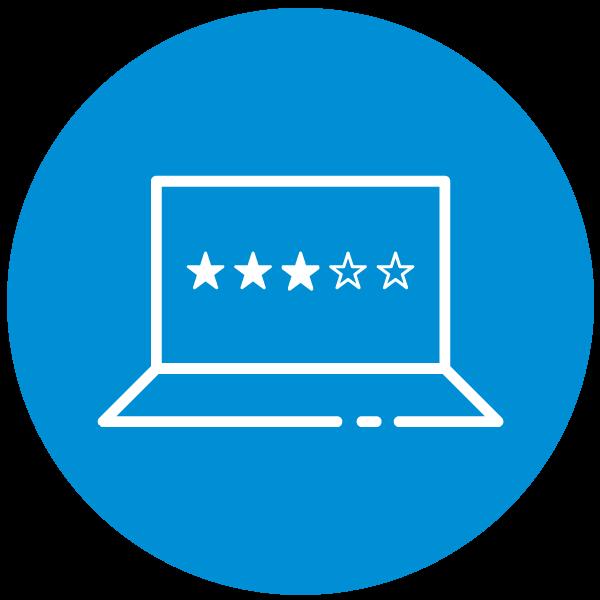 """Piktogramm zum Thema """"Kundenbewertungen ansehen"""""""