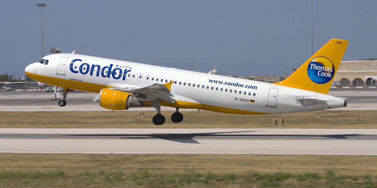 Aeroplane of the airline Condor takes off