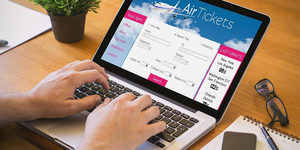 Online booking of flight tickets on the laptop