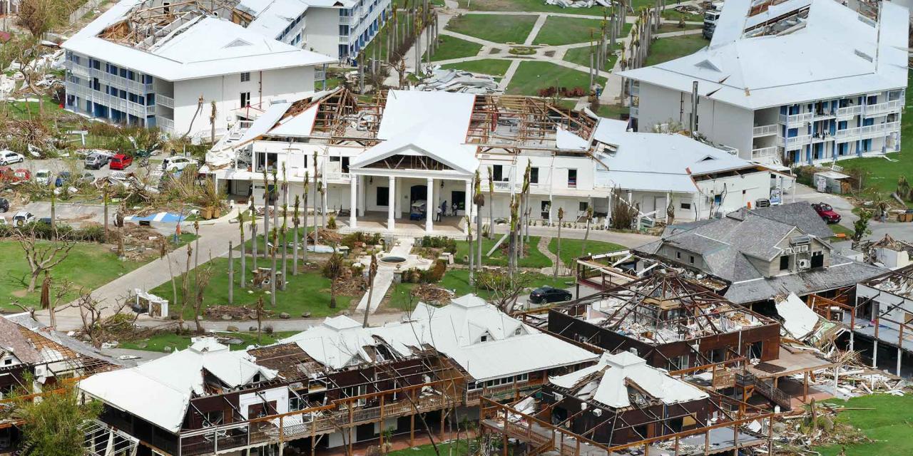 Vom Hurricane Irma zerstörte Gebäude des Resorts Anse Marcel auf St.Martin