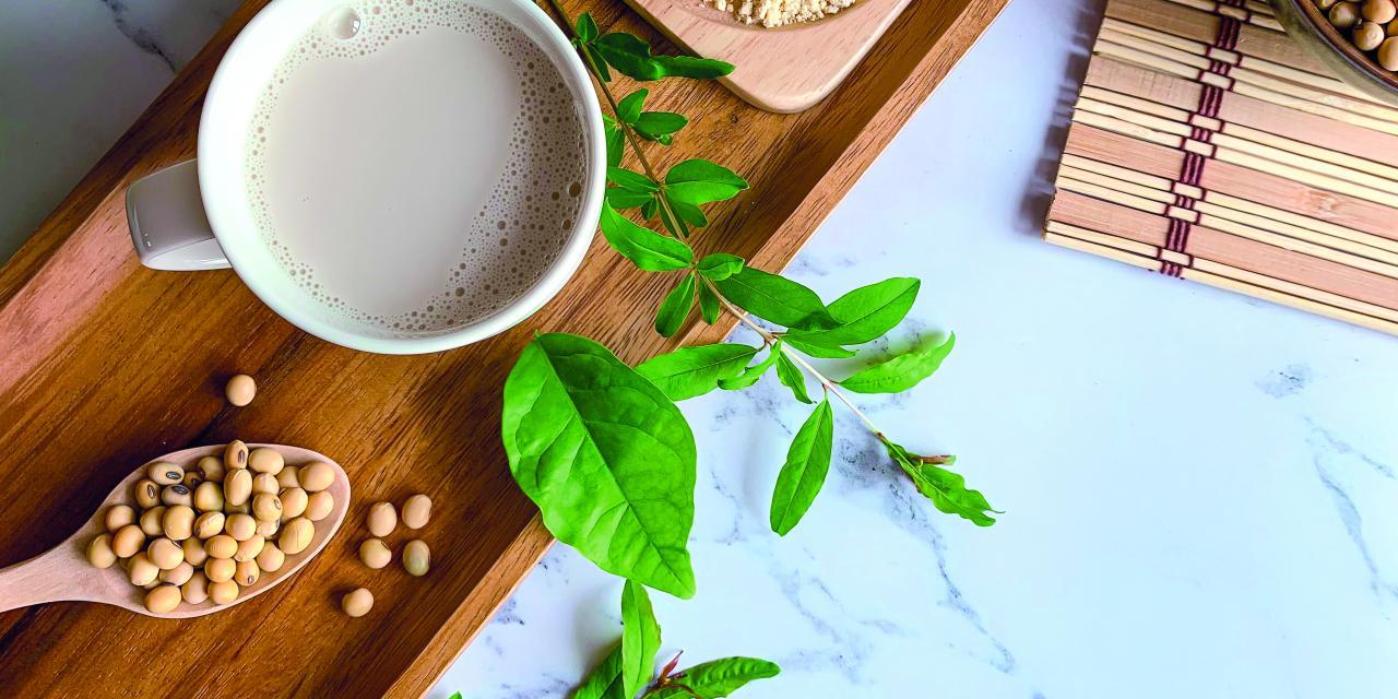 Sojabohnen und Sojamilch auf einem Tisch