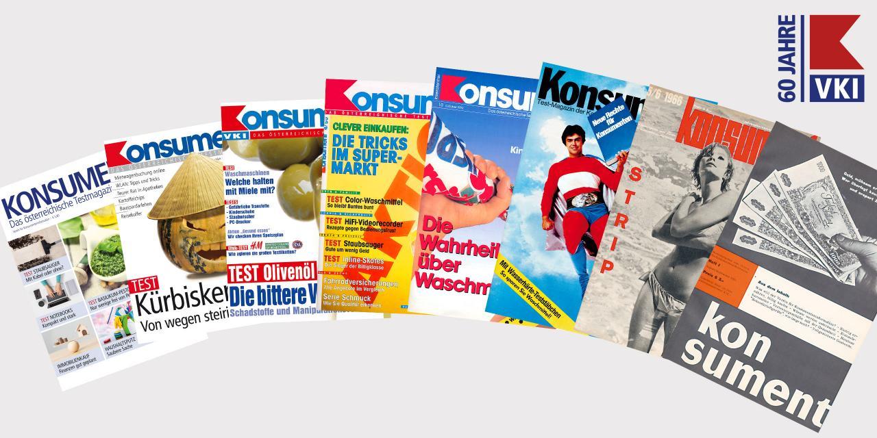 60 Jahre VKI - Konsument Cover verschiedene Jahrgänge