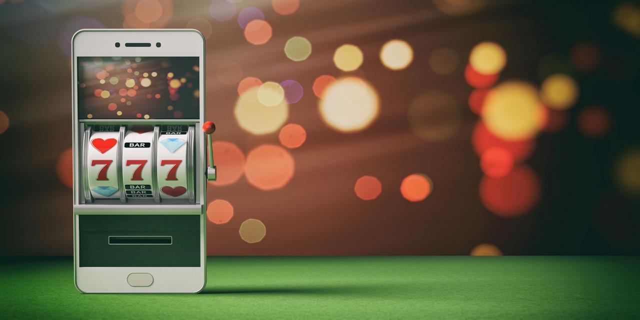 Smartphone mit virtueller Slot Machine auf dem Display