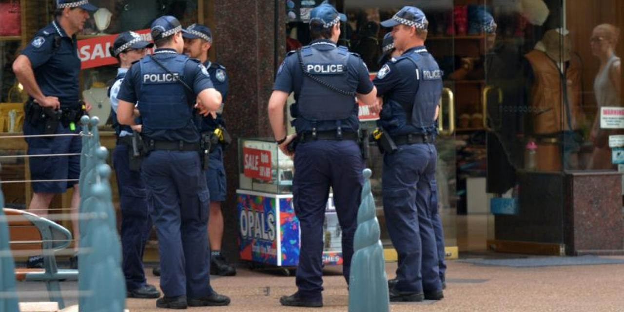 Group of Australian police officers on street