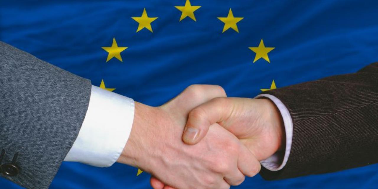 Handschlag vor EU Fahne