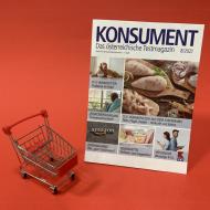 KONSUMENT-Heft mit Einkaufswagen