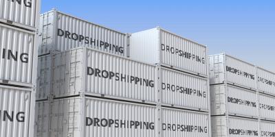 Schiffscontainer mit Aufschrift Dropshipping