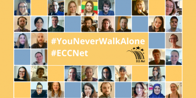 """Collage of staff photos of the ECC-Net with slogan """"You never walk alone""""."""