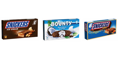 Fotos von Snickers Ice Cream, Bounty Ice Cream und Snickers Crisp Ice Cream