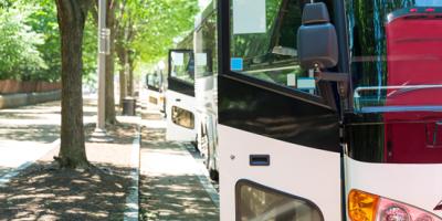 parked bus with open door