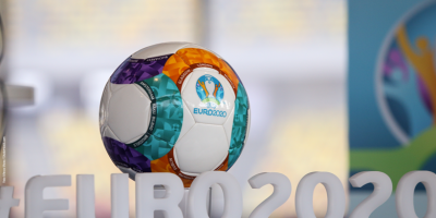 EURO2020 lettering in front of colourful football