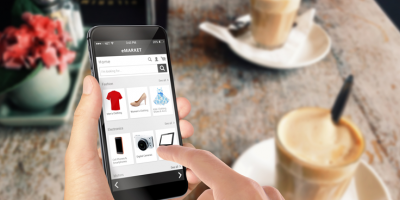 Shopping online on a smartphone