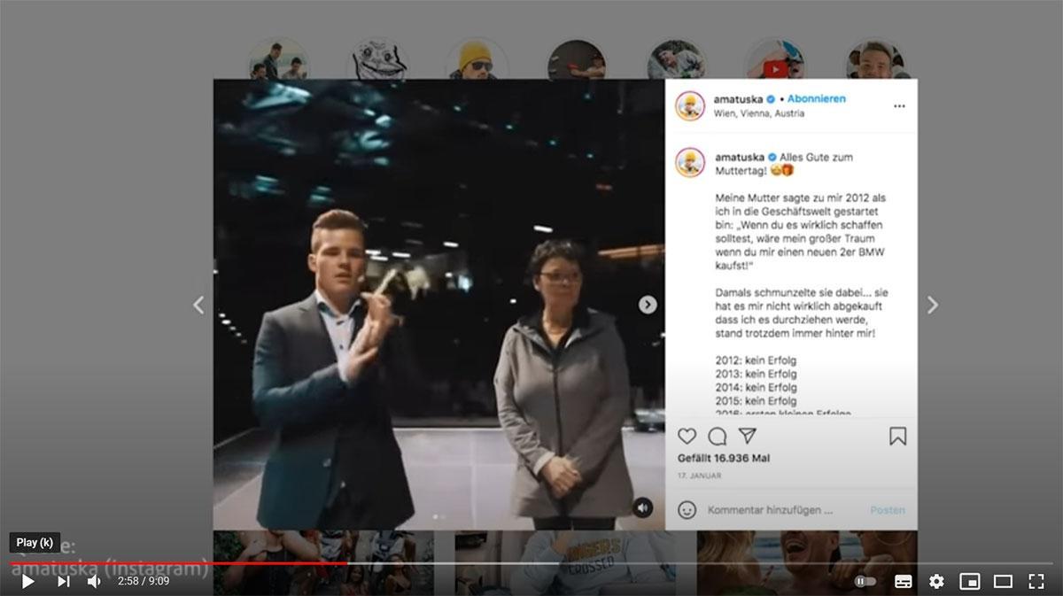 Instagram Videoscreenshot von Andreas Matuska