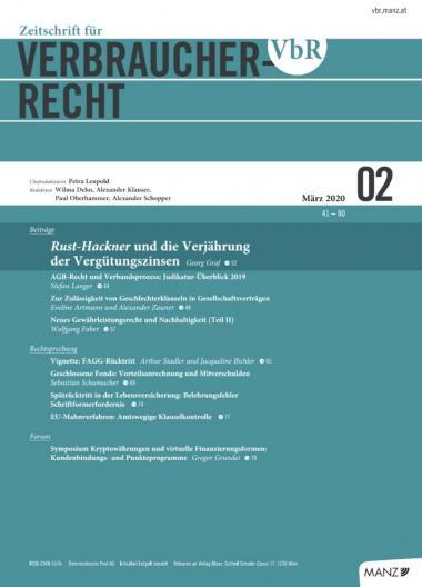 Zeitschrift für Verbraucherrecht Ausgabe 02/2020