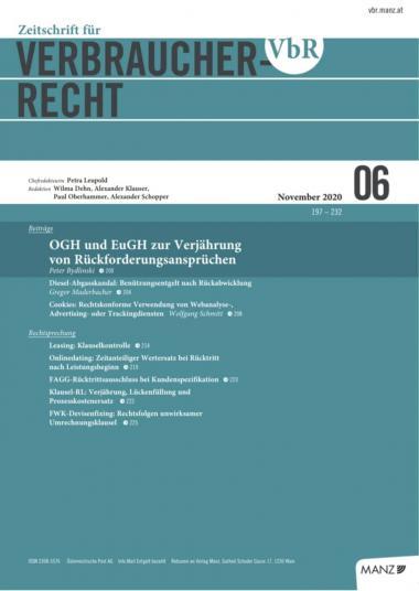 Cover Heft 06/2020 Zeitschrift für Verbraucherrecht