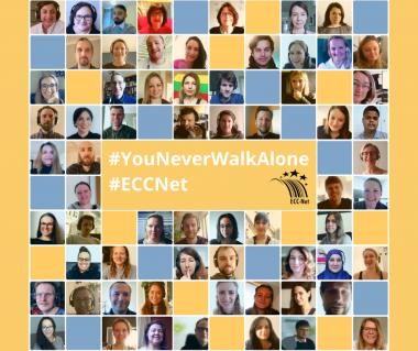 """Collage von Mitarbeiter Fotos des ECC-Nets mit Slogan """"You never walk alone2"""