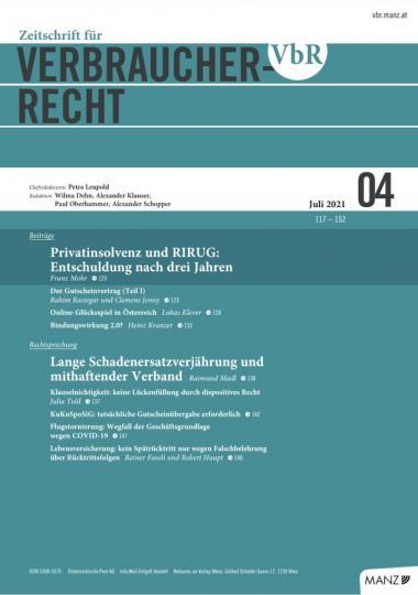 Coverbild Zeitschrift für Verbraucherrecht 4-2021