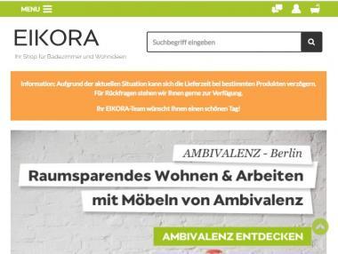 Screenshot der Seite mit dem orangen Warnbalken über mögliche Lieferverzögerungen