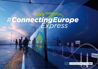Stilisierte Seitenansicht des blauen Connection Europe Express mit Schriftzug