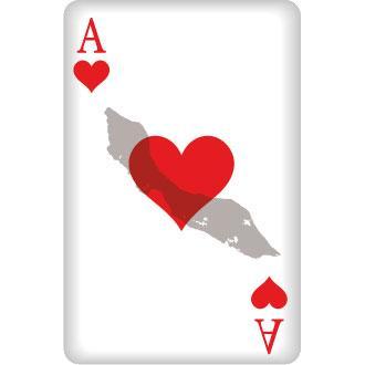 Herz Ass Spielkarte mit Umriss von Curacao