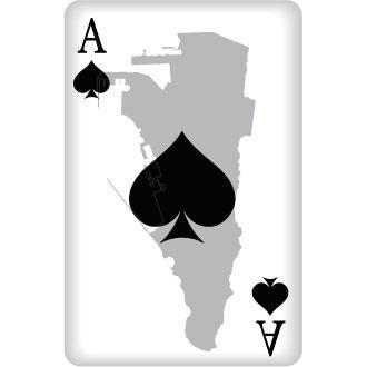 Pik Ass Spielkarte mit Umriss von Gibraltar