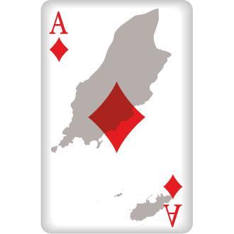 Karo Ass Spielkarte mit Umrissen von Isle of Man und Alderney