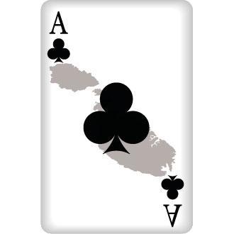Treff Ass Spielkarte mit Umriss von Malta