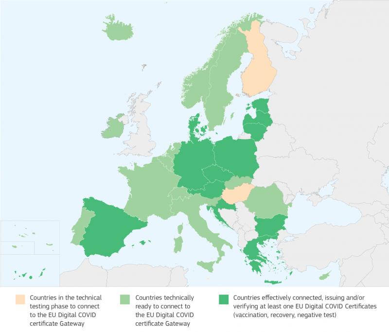 Landkarte mit dem Grünen Zertifikat