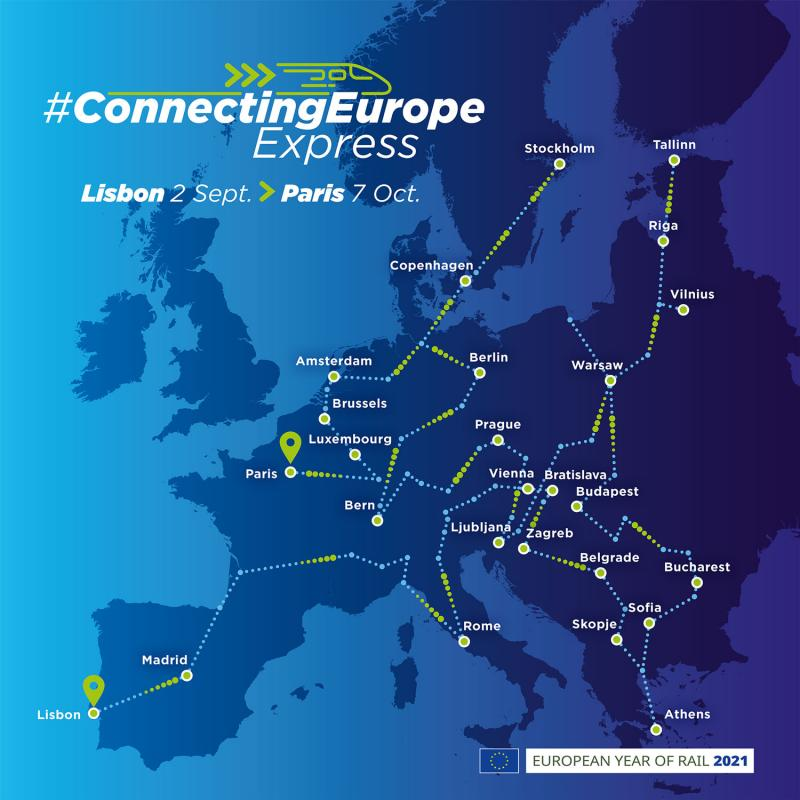 Stations of the Connecting Europe Express on a European map